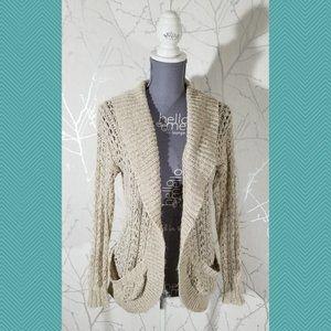Staring at Stars Beige Crochet Open Front Cardigan